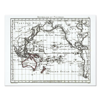 Vintage 1806 Map - Australasie et Polynesie 4.25x5.5 Paper Invitation Card