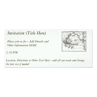 Vintage 1806 Map - Australasie et Polynesie 4x9.25 Paper Invitation Card