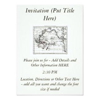 Vintage 1806 Map - Australasie et Polynesie 5.5x7.5 Paper Invitation Card