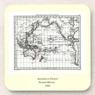 Vintage 1806 Map - Australasie et Polynesie Beverage Coaster