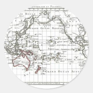 Vintage 1806 Map - Australasie et Polynesie Classic Round Sticker