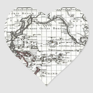 Vintage 1806 Map - Australasie et Polynesie Heart Sticker