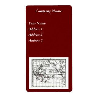 Vintage 1806 Map - Australasie et Polynesie Shipping Label