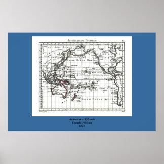 Vintage 1806 Map - Australasie et Polynesie Poster