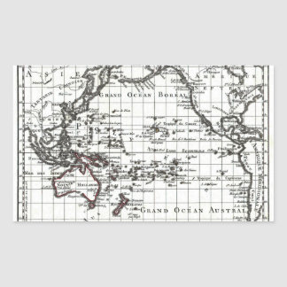 Vintage 1806 Map - Australasie et Polynesie Rectangular Sticker