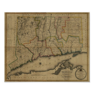 Vintage 1813 Connecticut Map Poster