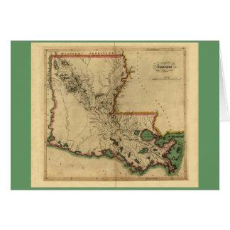 Vintage 1814 Louisiana Map Card
