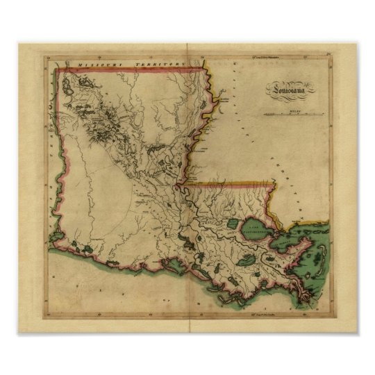 Vintage 1814 Louisiana Map Poster