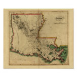 Vintage 1814 Louisiana Map Print