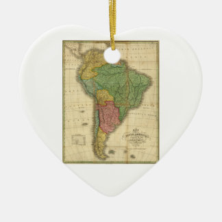 Vintage 1826 South America Map by Anthony Finley Ceramic Ornament