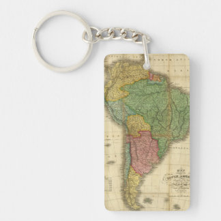 Vintage 1826 South America Map by Anthony Finley Rectangle Acrylic Keychain