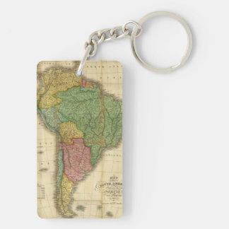 Vintage 1826 South America Map by Anthony Finley Keychain