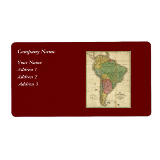 Vintage 1826 South America Map by Anthony Finley Label