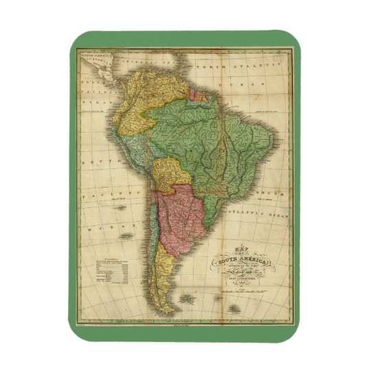 Vintage 1826 South America Map by Anthony Finley Magnet
