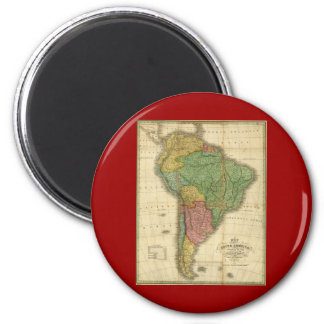 Vintage 1826 South America Map by Anthony Finley Fridge Magnet