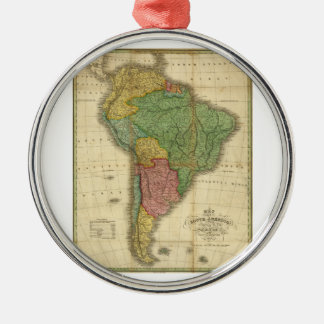Vintage 1826 South America Map by Anthony Finley Metal Ornament