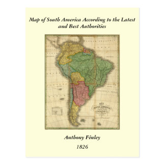 Vintage 1826 South America Map by Anthony Finley Postcard