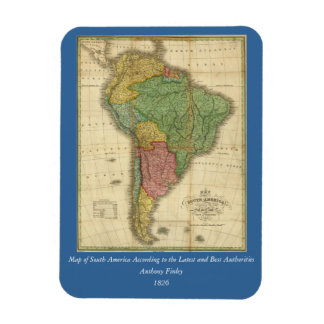 Vintage 1826 South America Map by Anthony Finley Flexible Magnets