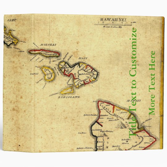 Vintage 1837 Hawaii Map -  Hawaiian Islands 3 Ring Binder
