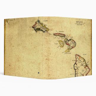 Vintage 1837 Hawaii Map -  Hawaiian Islands 3 Ring Binder