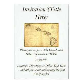Vintage 1837 Hawaii Map -  Hawaiian Islands 4.5x6.25 Paper Invitation Card