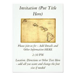 Vintage 1837 Hawaii Map -  Hawaiian Islands 5.5x7.5 Paper Invitation Card