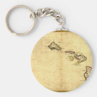Vintage 1837 Hawaii Map -  Hawaiian Islands Basic Round Button Keychain