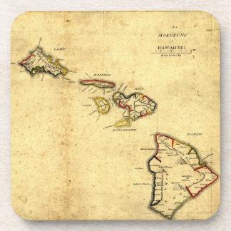 Vintage 1837 Hawaii Map -  Hawaiian Islands Beverage Coasters