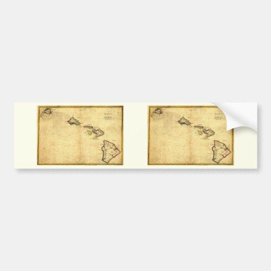 Vintage 1837 Hawaii Map -  Hawaiian Islands Bumper Sticker