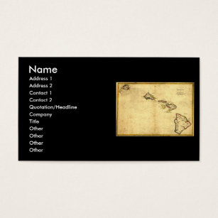 Hawaii business cards templates zazzle vintage 1837 hawaii map hawaiian islands business card reheart Gallery