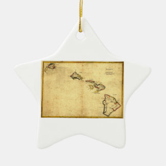 Vintage 1837 Hawaii Map -  Hawaiian Islands Ceramic Ornament