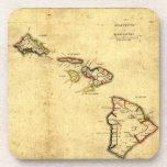 Vintage 1837 Hawaii Map -  Hawaiian Islands Beverage Coaster