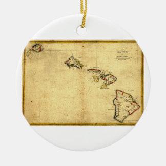 Vintage 1837 Hawaii Map -  Hawaiian Islands Double-Sided Ceramic Round Christmas Ornament