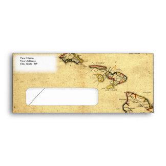 Vintage 1837 Hawaii Map -  Hawaiian Islands Envelope