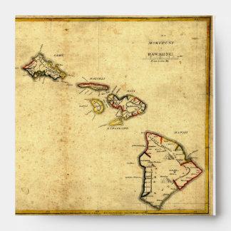 Vintage 1837 Hawaii Map -  Hawaiian Islands Envelopes