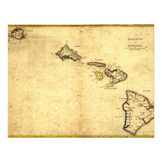 Vintage 1837 Hawaii Map -  Hawaiian Islands Flyer