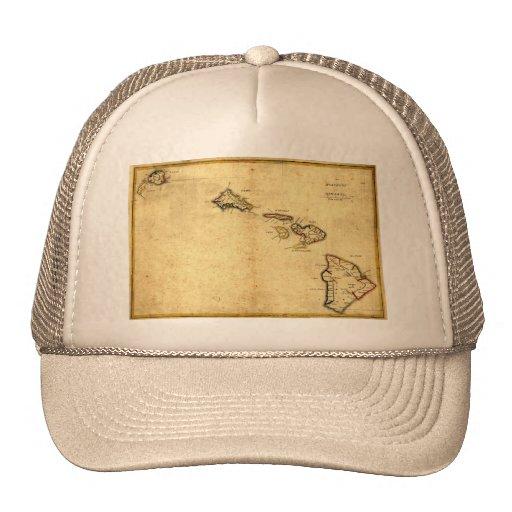 Vintage 1837 Hawaii Map -  Hawaiian Islands Trucker Hat