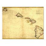 """Vintage 1837 Hawaii Map -  Hawaiian Islands 4.25"""" X 5.5"""" Invitation Card"""