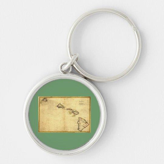 Vintage 1837 Hawaii Map -  Hawaiian Islands Keychain