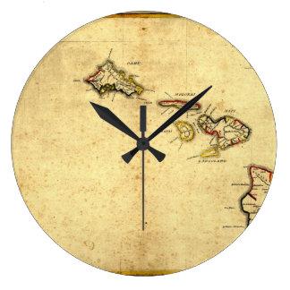 Vintage 1837 Hawaii Map -  Hawaiian Islands Large Clock