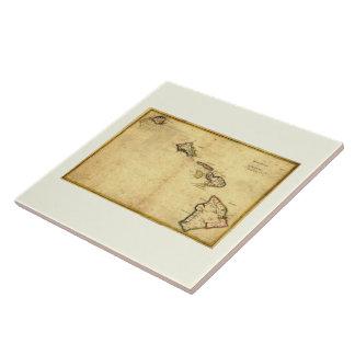 Vintage 1837 Hawaii Map -  Hawaiian Islands Large Square Tile
