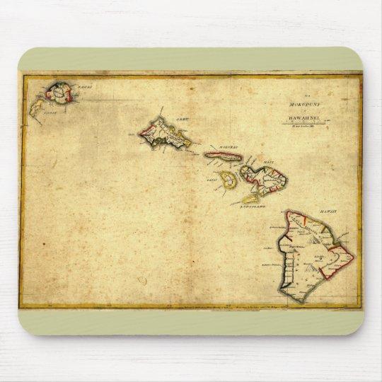Vintage 1837 Hawaii Map -  Hawaiian Islands Mouse Pad