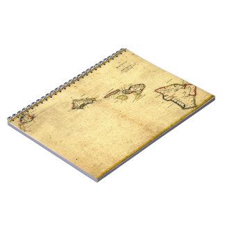 Vintage 1837 Hawaii Map -  Hawaiian Islands Note Book