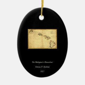Vintage 1837 Hawaii Map -  Hawaiian Islands Christmas Tree Ornament