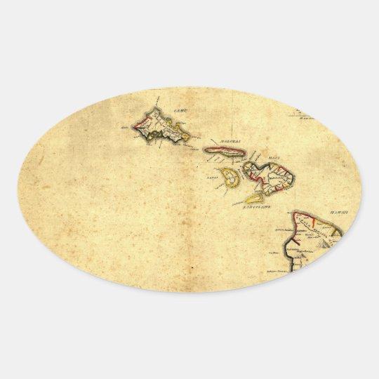 Vintage 1837 Hawaii Map -  Hawaiian Islands Oval Sticker