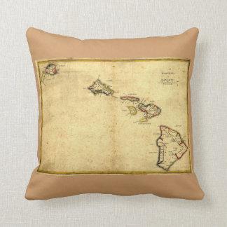 Vintage 1837 Hawaii Map -  Hawaiian Islands Throw Pillows