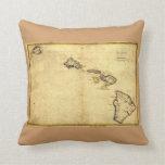 Vintage 1837 Hawaii Map -  Hawaiian Islands Pillows