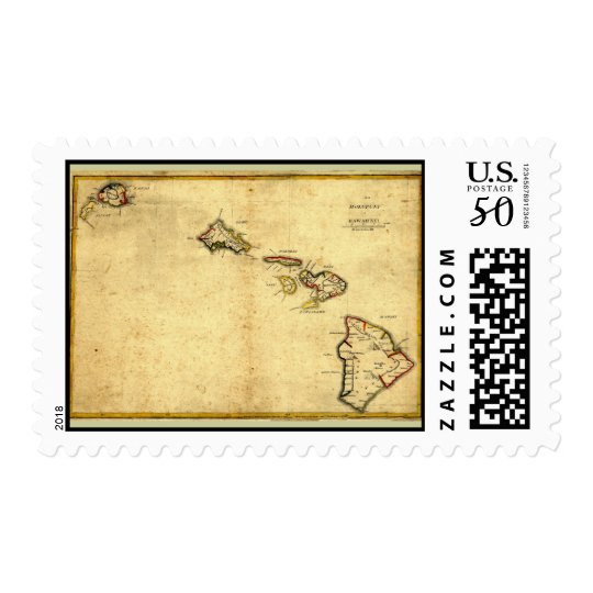 Vintage 1837 Hawaii Map -  Hawaiian Islands Postage