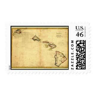 Vintage 1837 Hawaii Map - Hawaiian Islands Postage Stamps