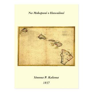 Vintage 1837 Hawaii Map -  Hawaiian Islands Postcard